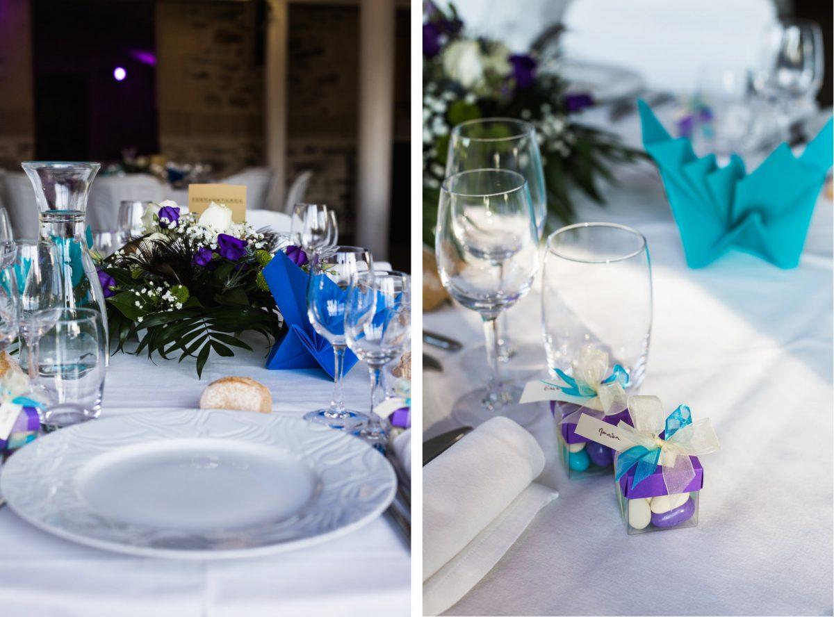 Présentation table mariage Chateau de Vair