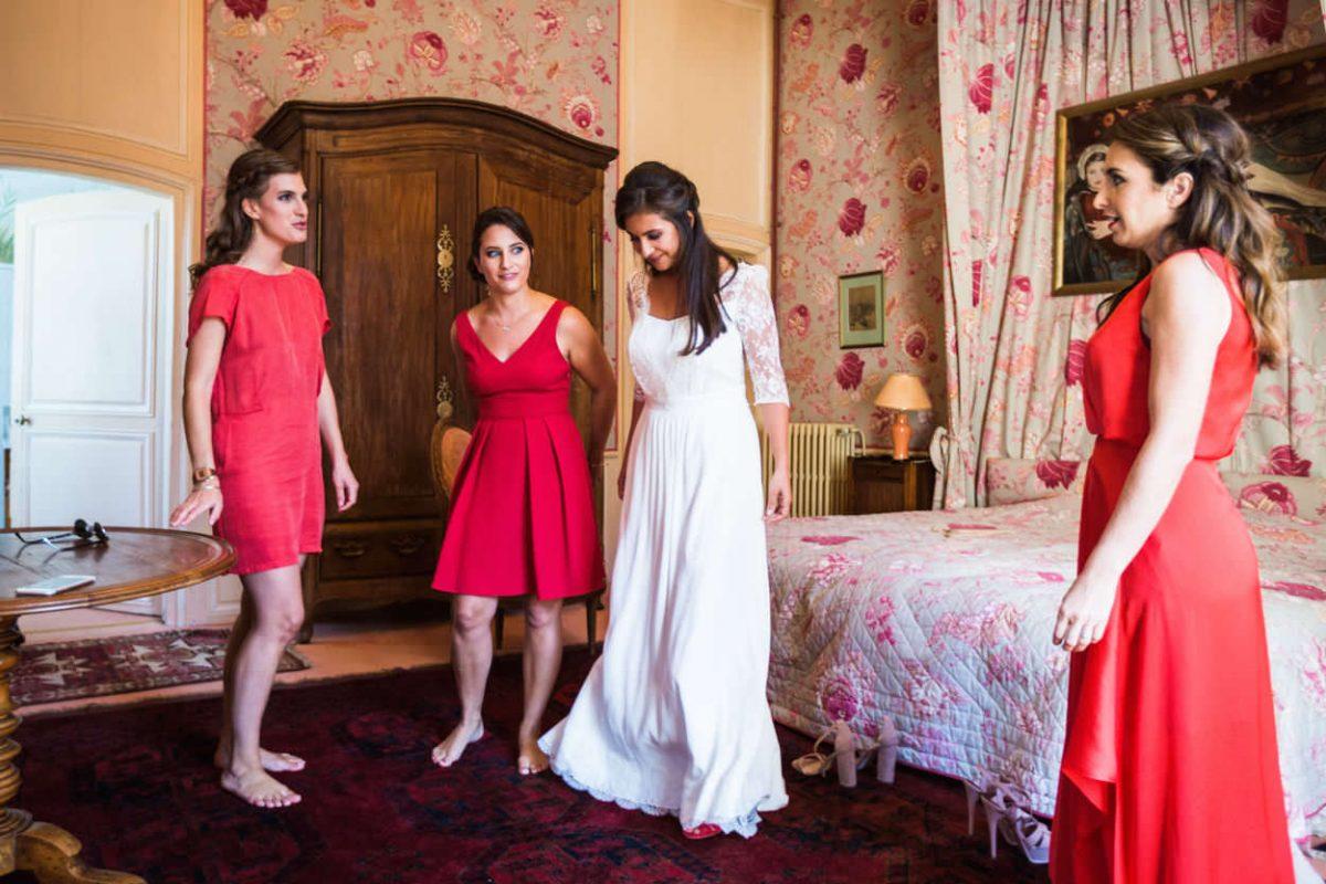 La mariée et ses demoiselles d'honneur Château de Guilguiffin